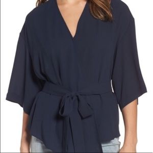 Trouve navy blue wrap kimono sleeve top-size small